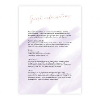 Celeb info card lilac and rose gold foil