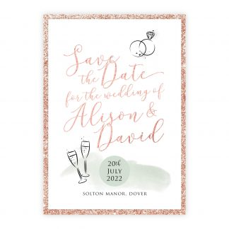 Celeb save the date green rose gold rosegold glitter