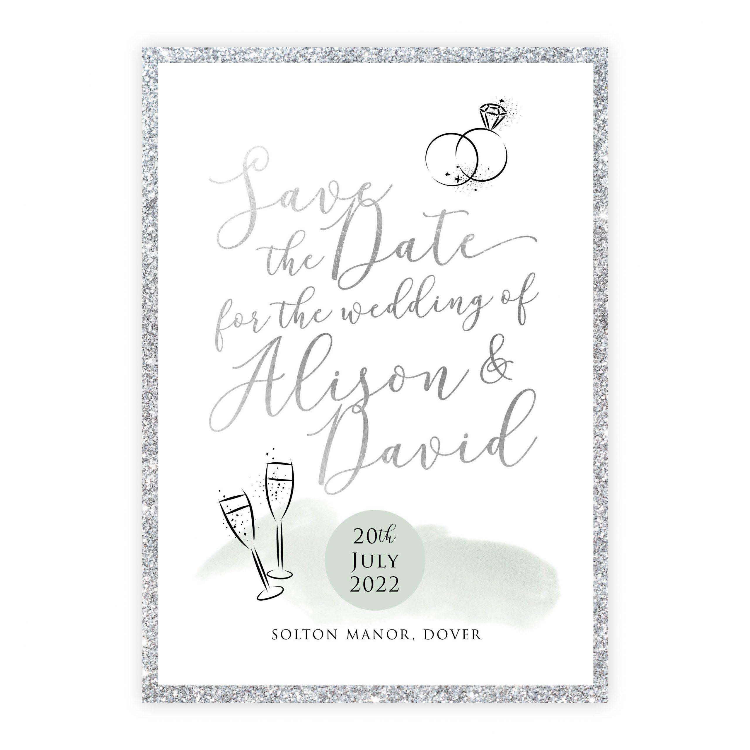 Celeb save the date green silver silver glitter