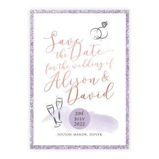 Celeb save the date lilac rose gold lilac glitter