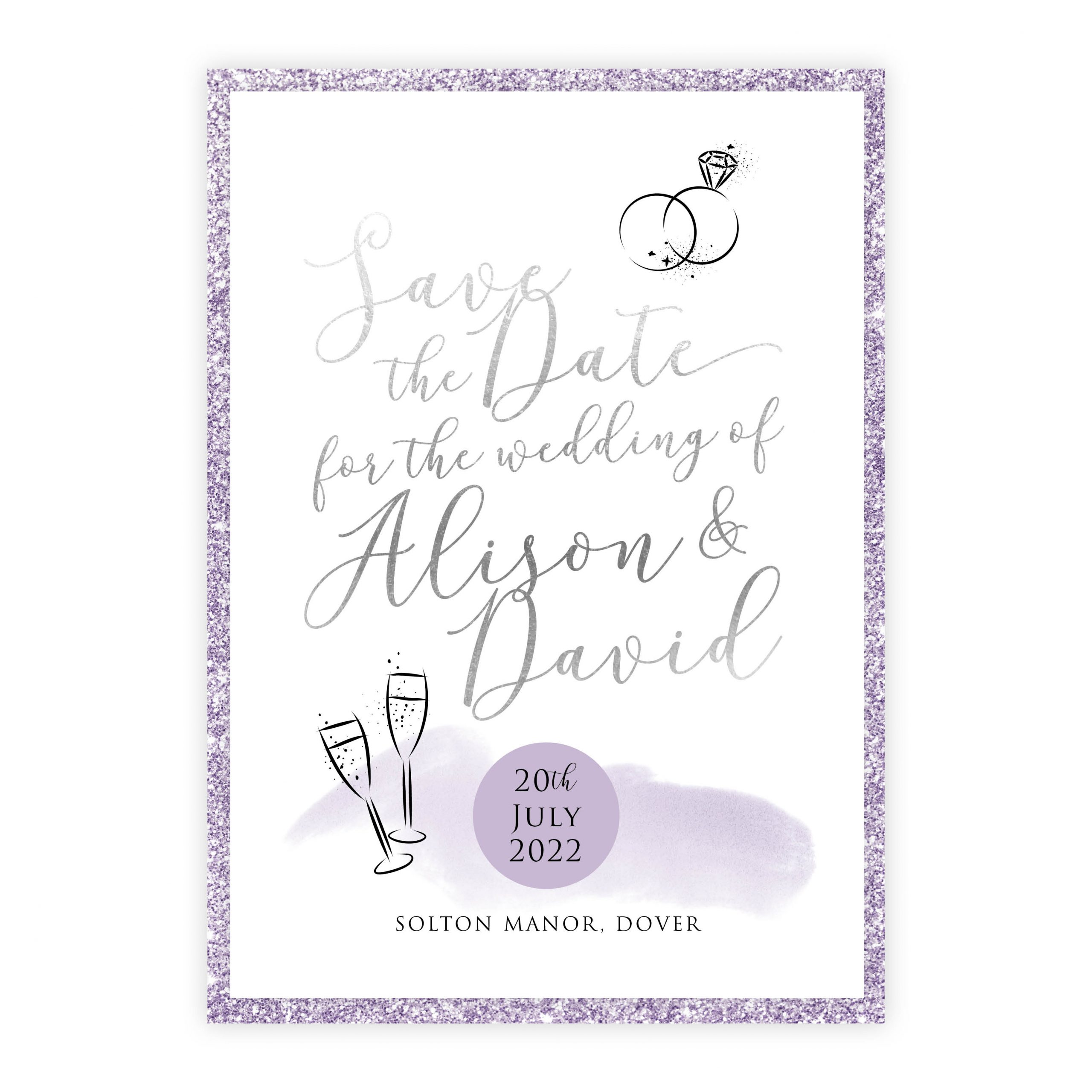 Celeb save the date lilac siler lilac glitter