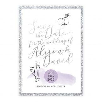 Celeb save the date lilac silver silver glitter