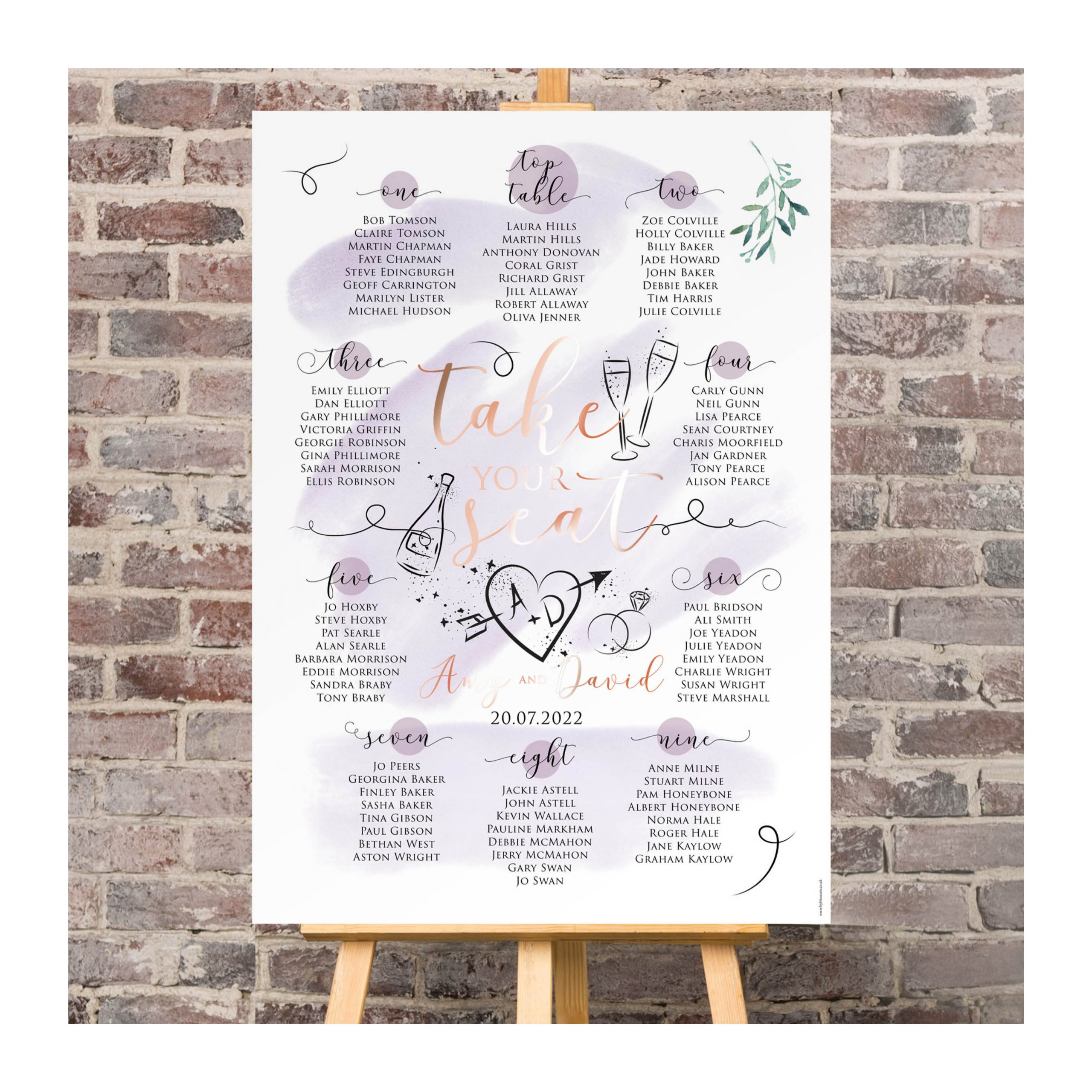 Celeb table plan lilac and rose gold