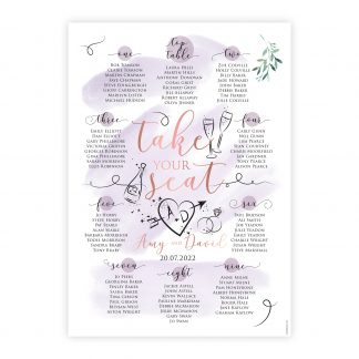 Celeb table plan lilac rose gold foil 2