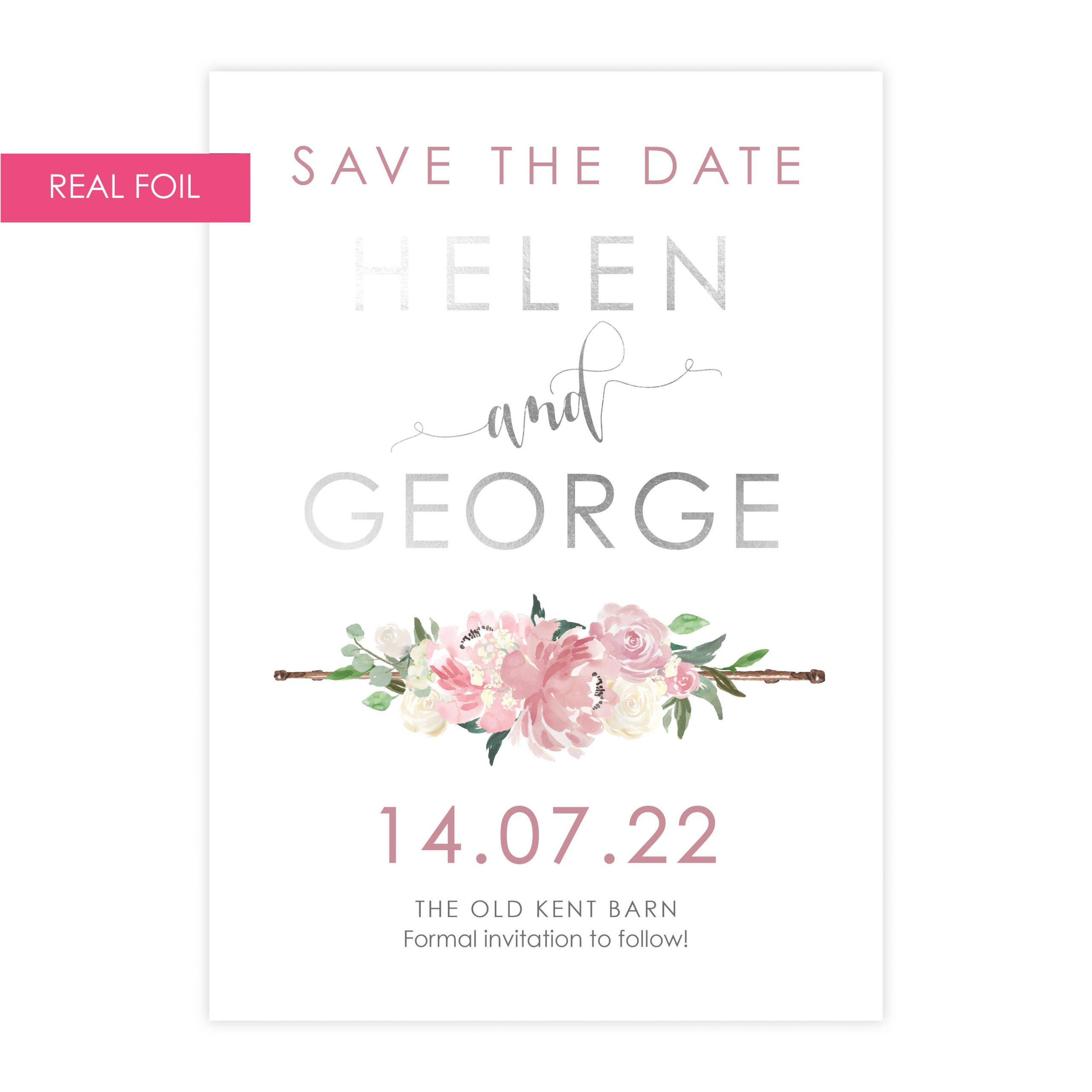 FH blush pink save the date silver foil