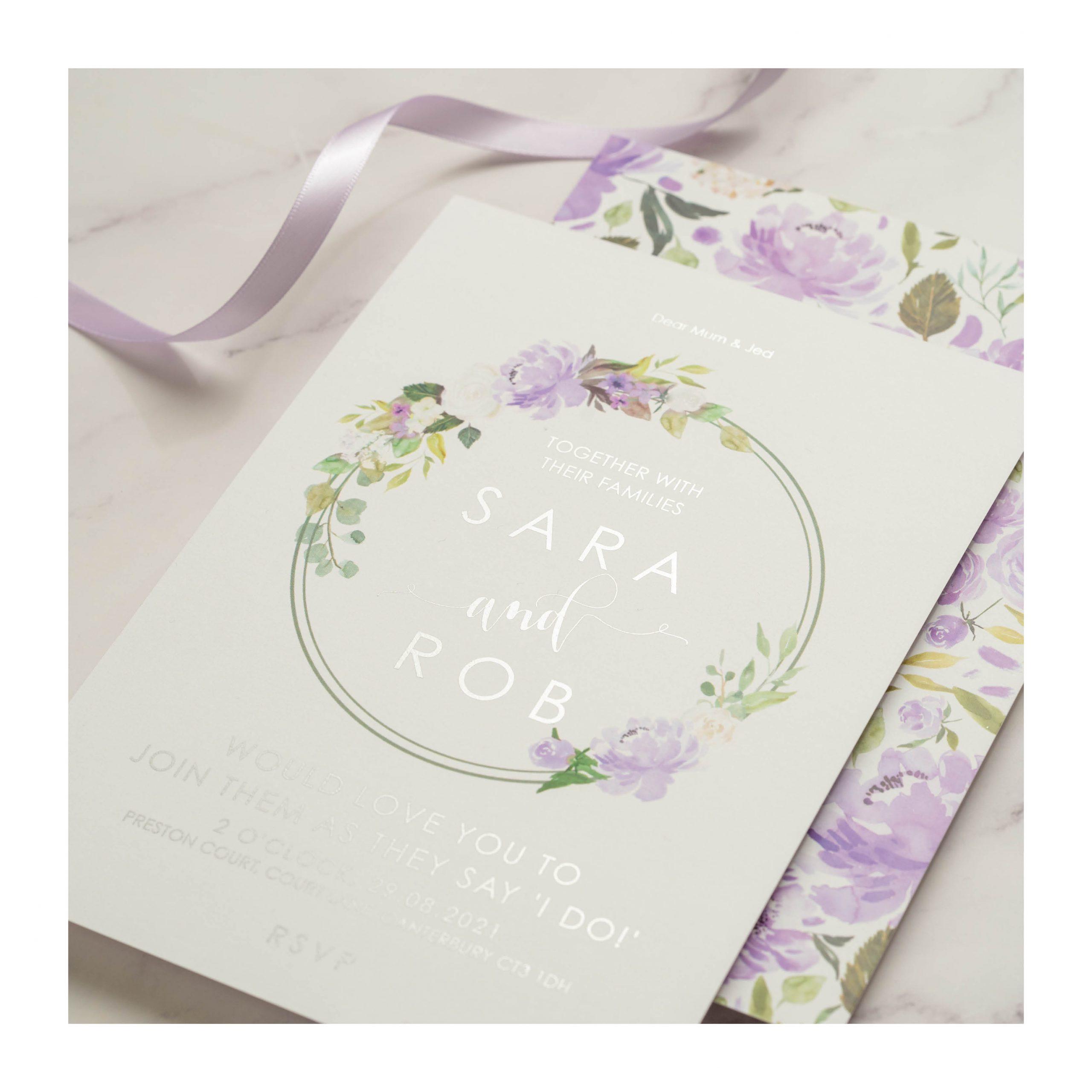 FH lilac and silver invitation
