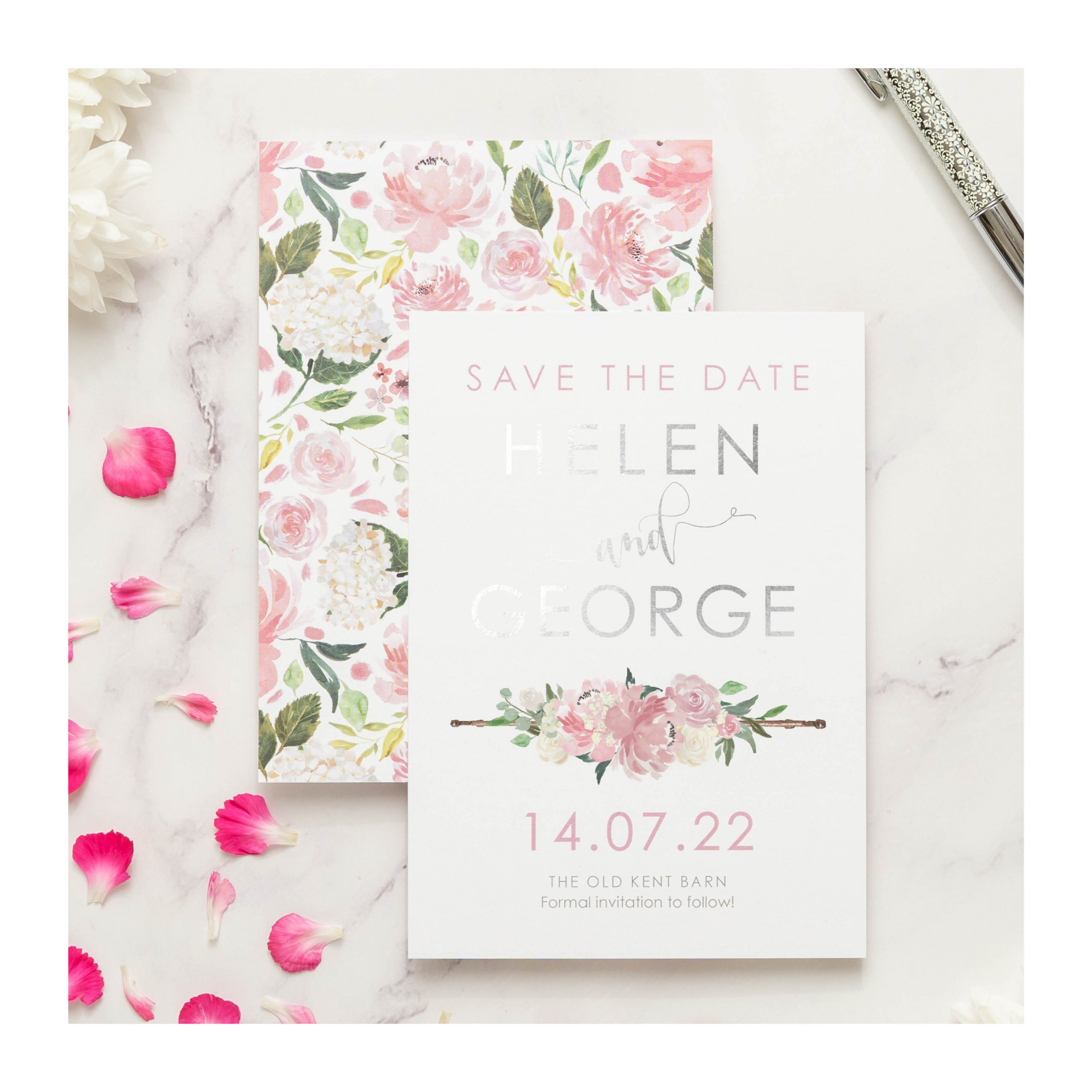 FH pink and silver save the date 2