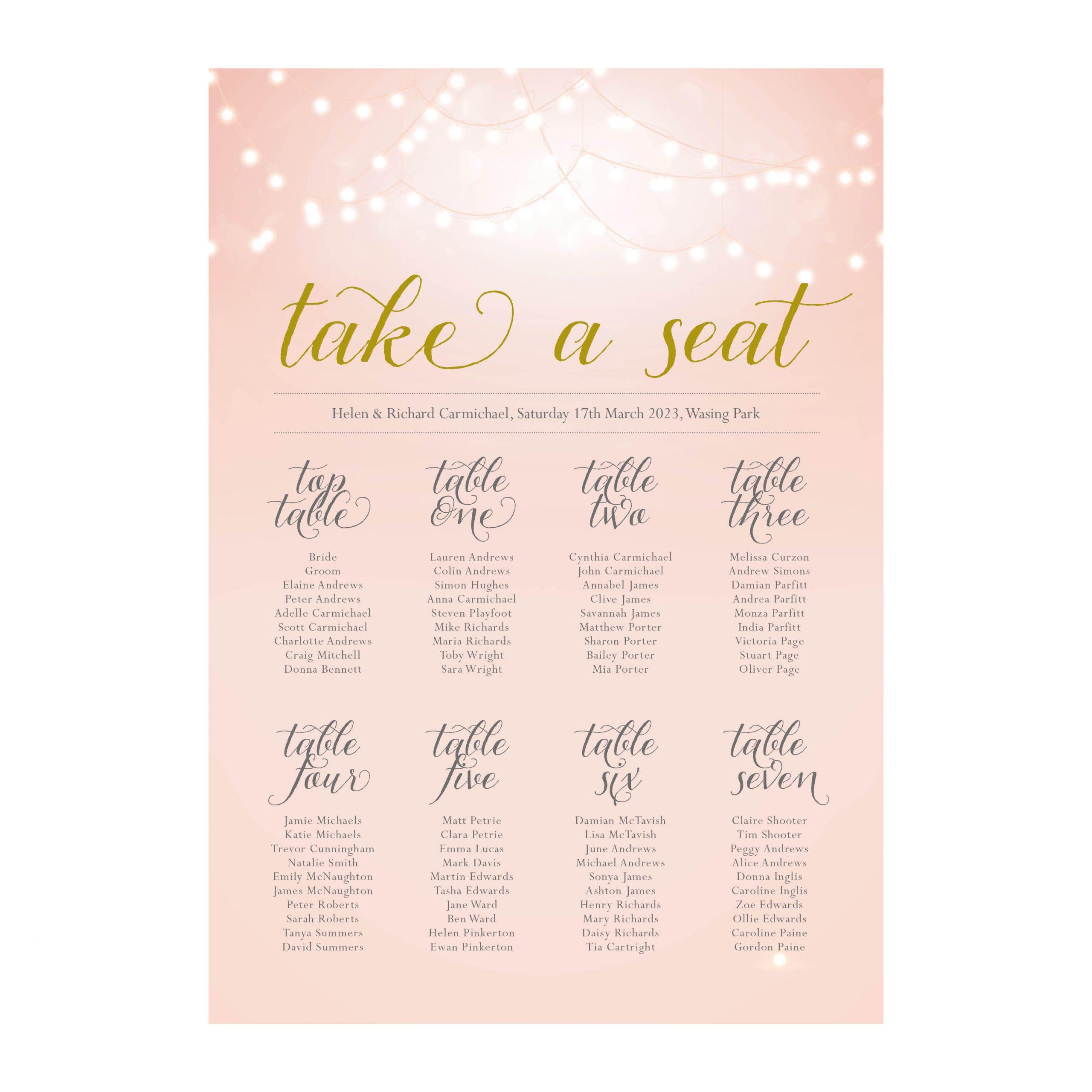 Nightglow blush pink table plan