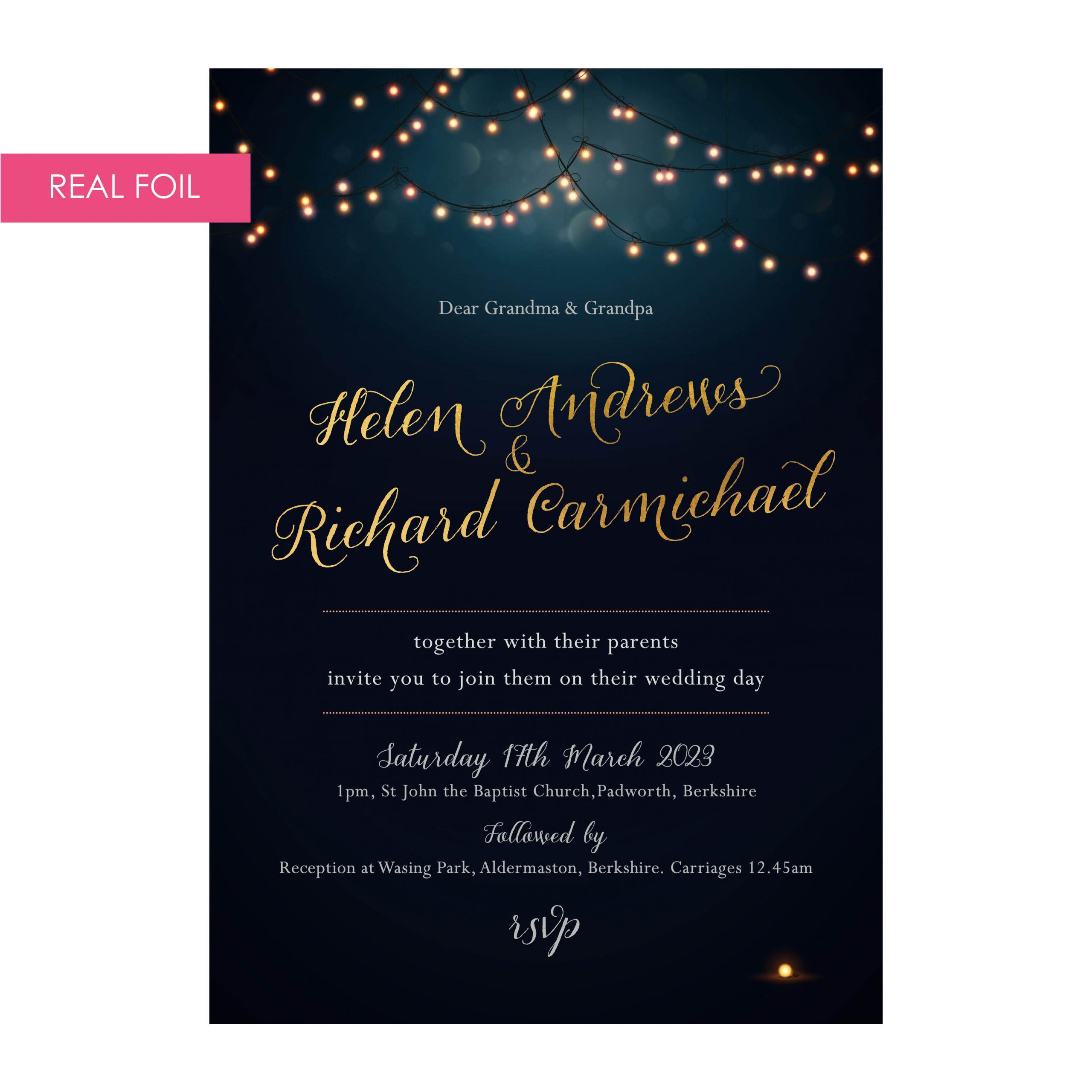 Nightglow invites navy gold foil