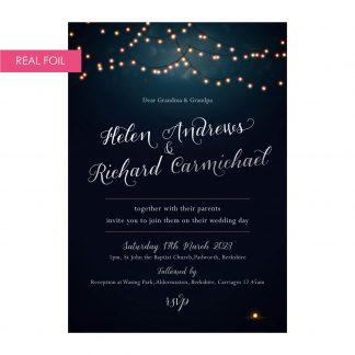 Nightglow invites navy silver foil