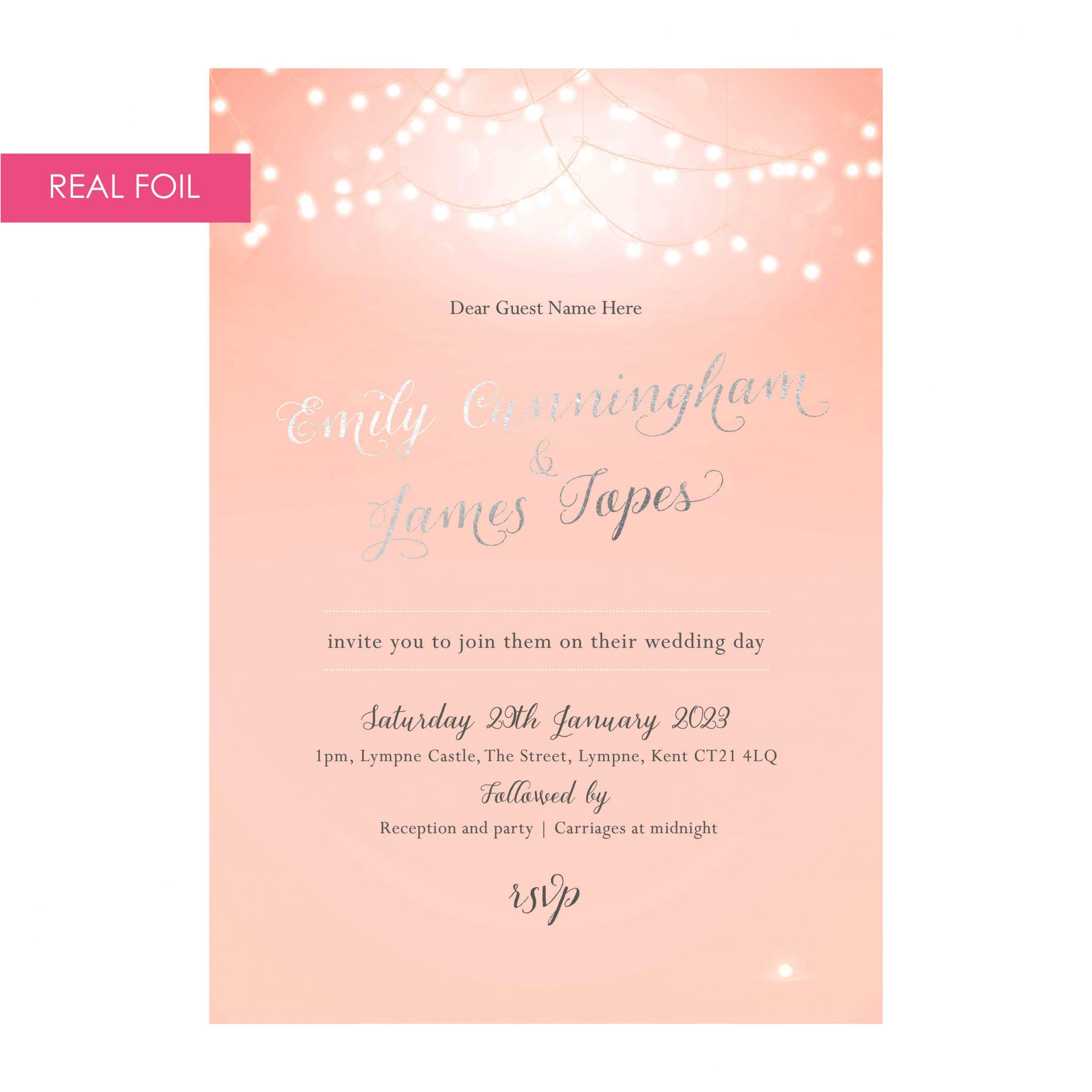 Nightglow invites pink silver foil