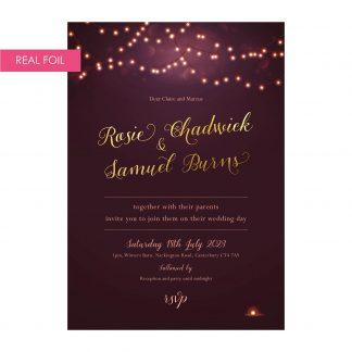 Nightglow invites plum gold foil
