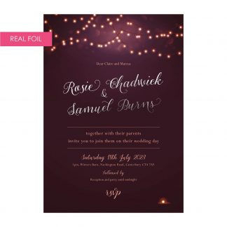 Nightglow invites plum silver foil