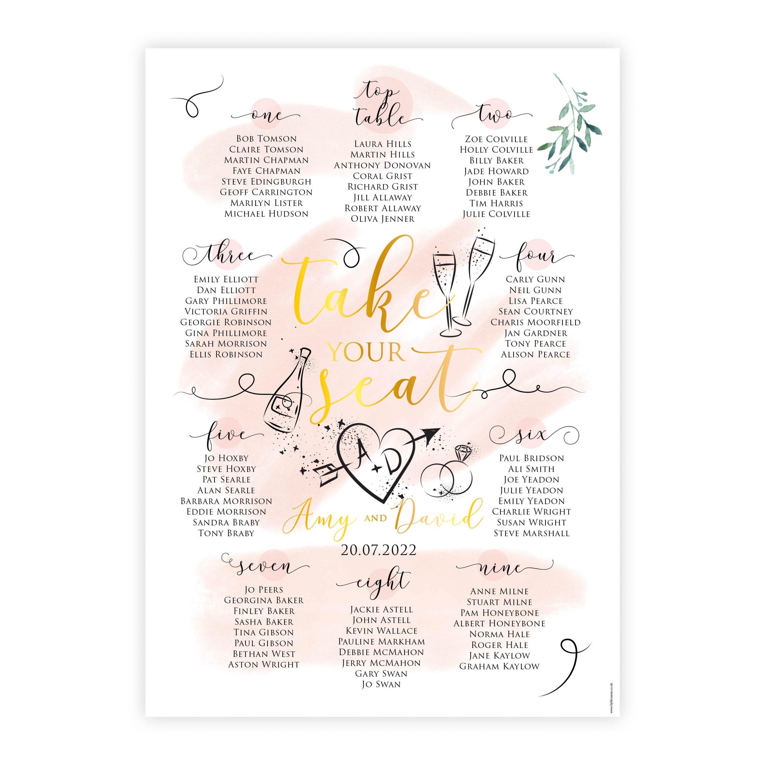 Celeb table plan pink gold foil