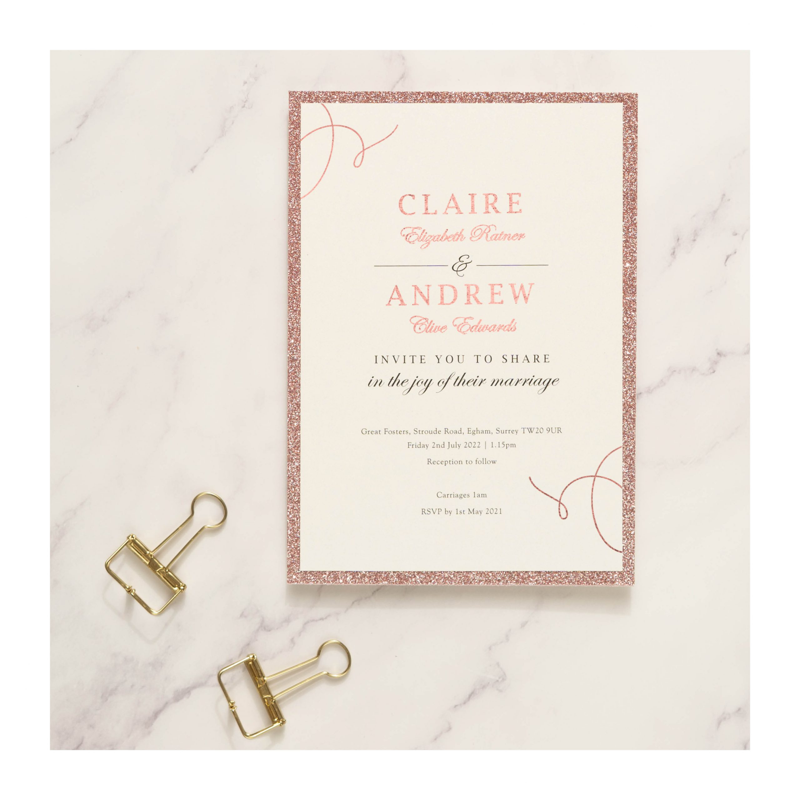 Elegance photos – invite rose gold