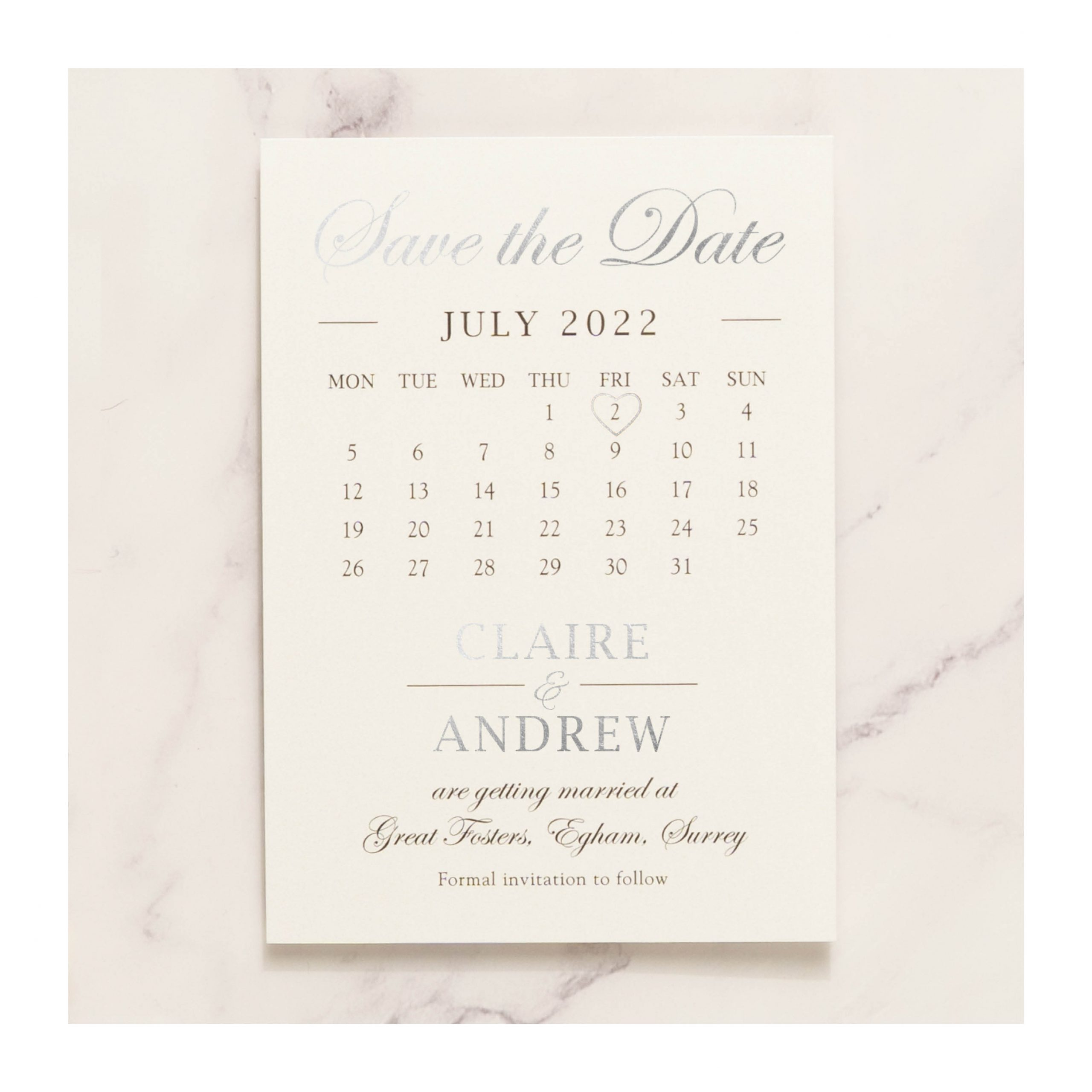 Elegance save the date silver photo