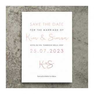 Heart motif save the date photo RG on white