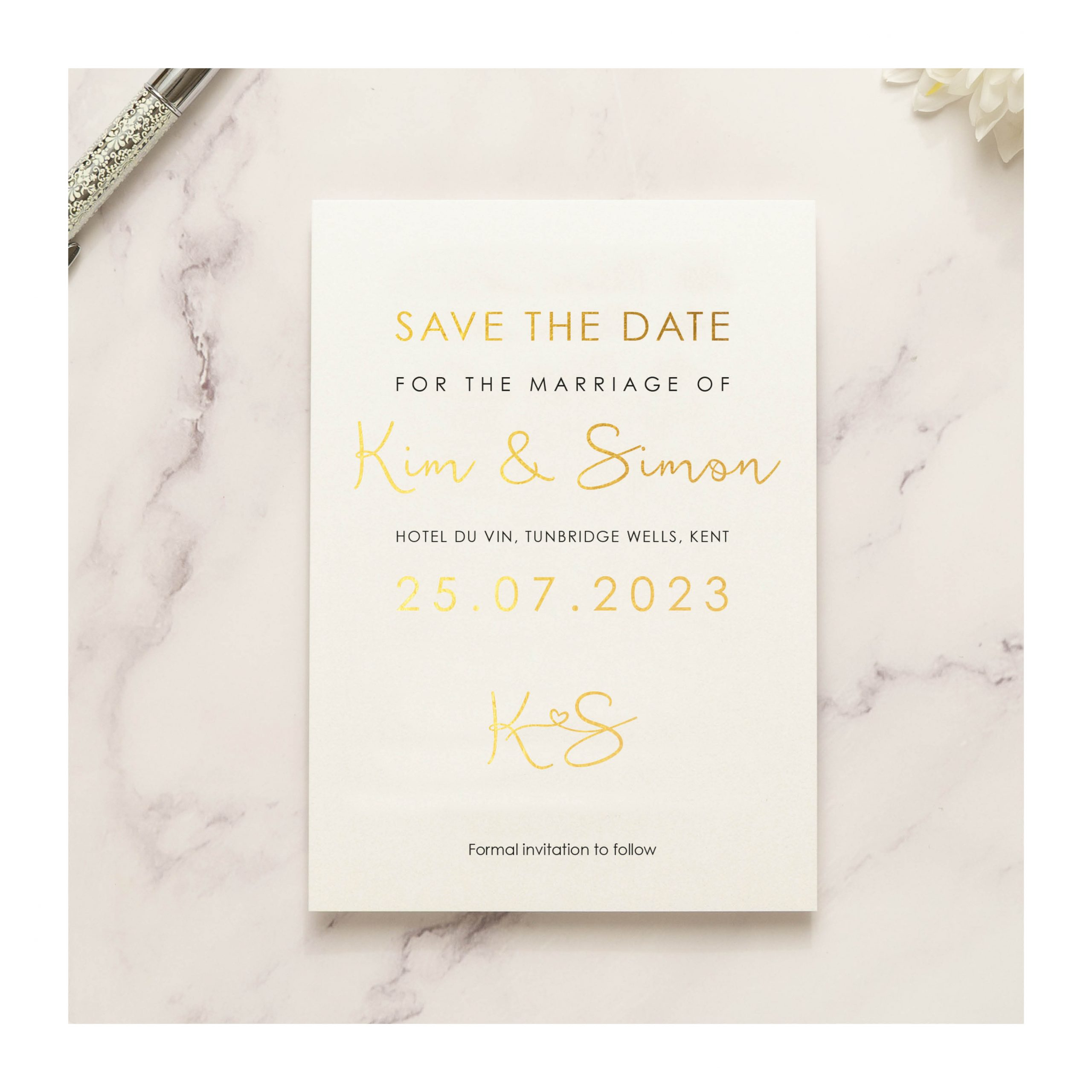 Heart motif save the date photo gold on pearl