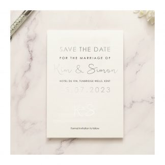 Heart motif save the date photo silver on pearl