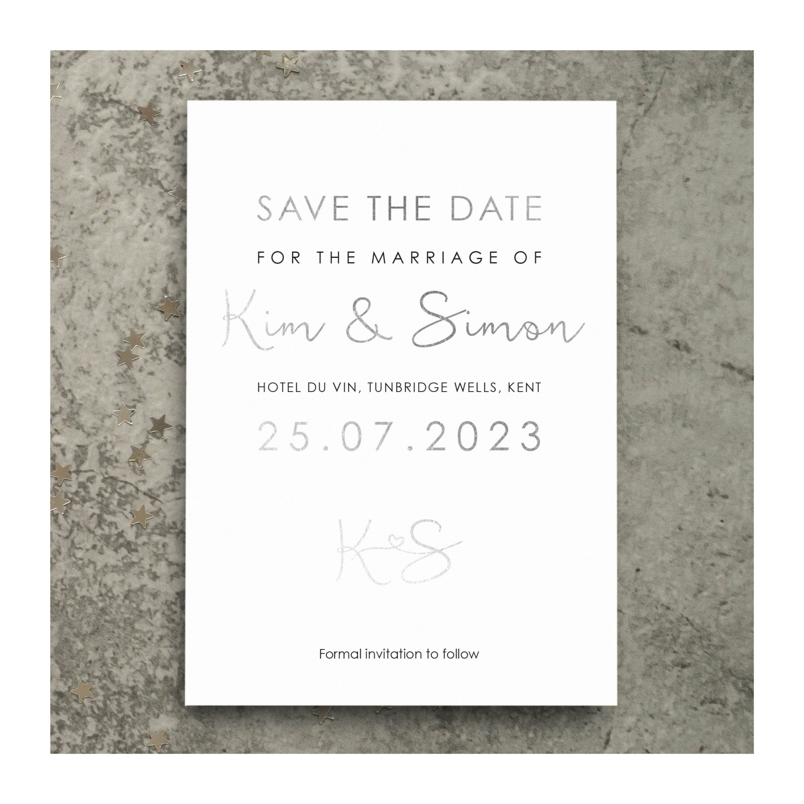 Heart motif save the date photo silver on white