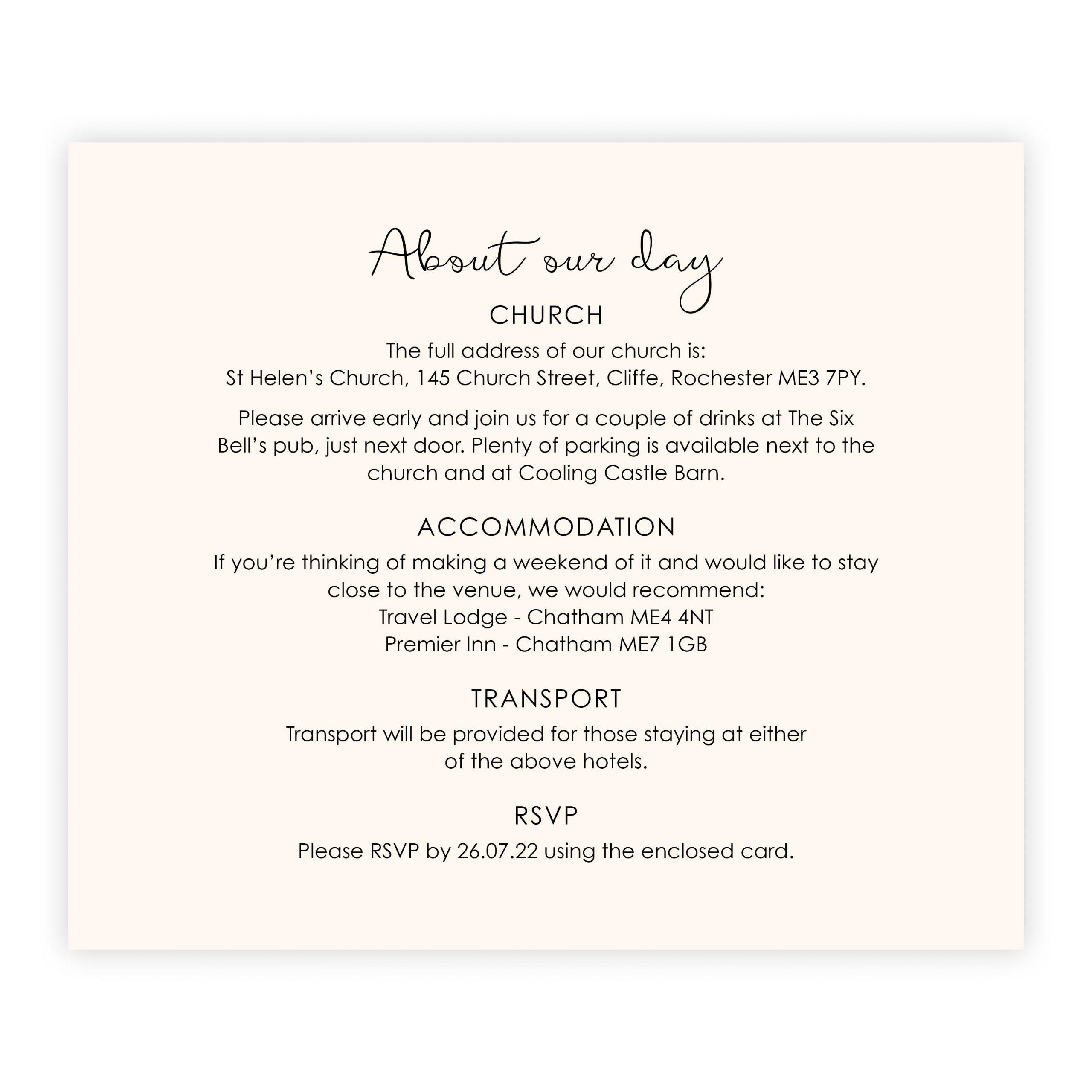 Heart motif ss info card back ivory
