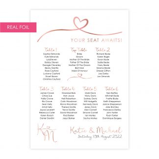 Heart motif table plan rose gold on white