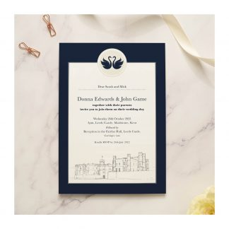 Leeds Castle single invite blue
