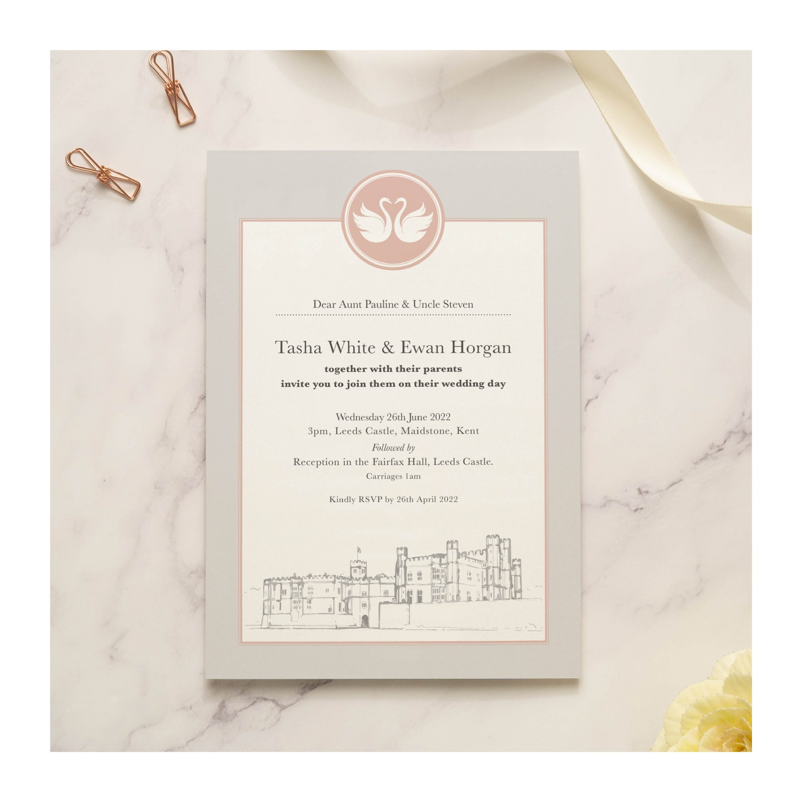 Leeds Castle single invite pink