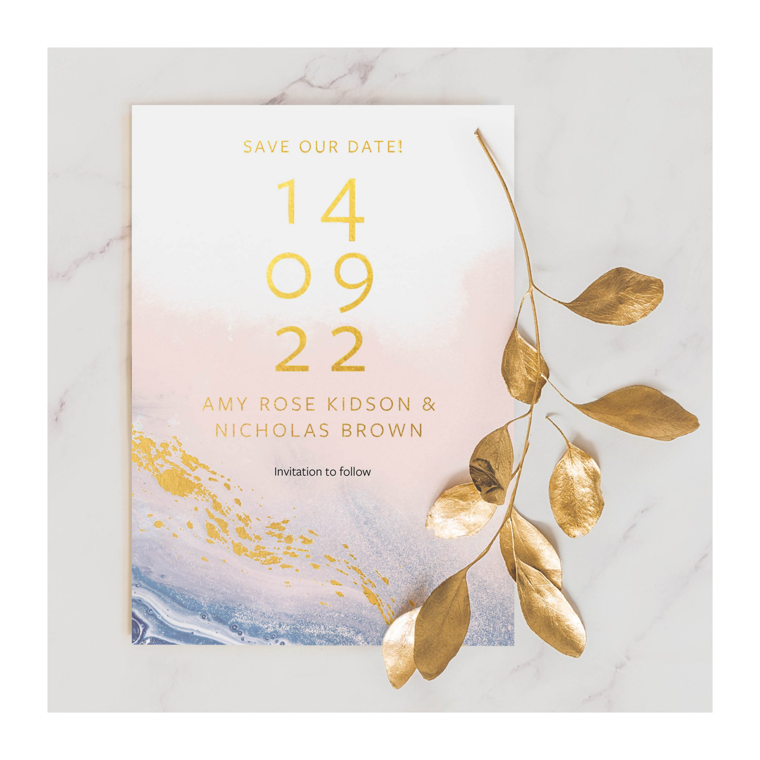 Marble Save the date photo with leaf