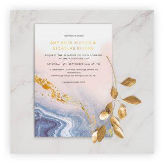 Marble invite photo gold