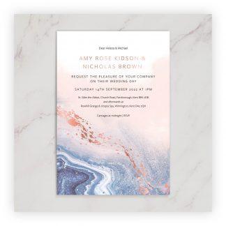 Marble invite photo rose gold