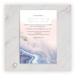 Marble invite photo silver