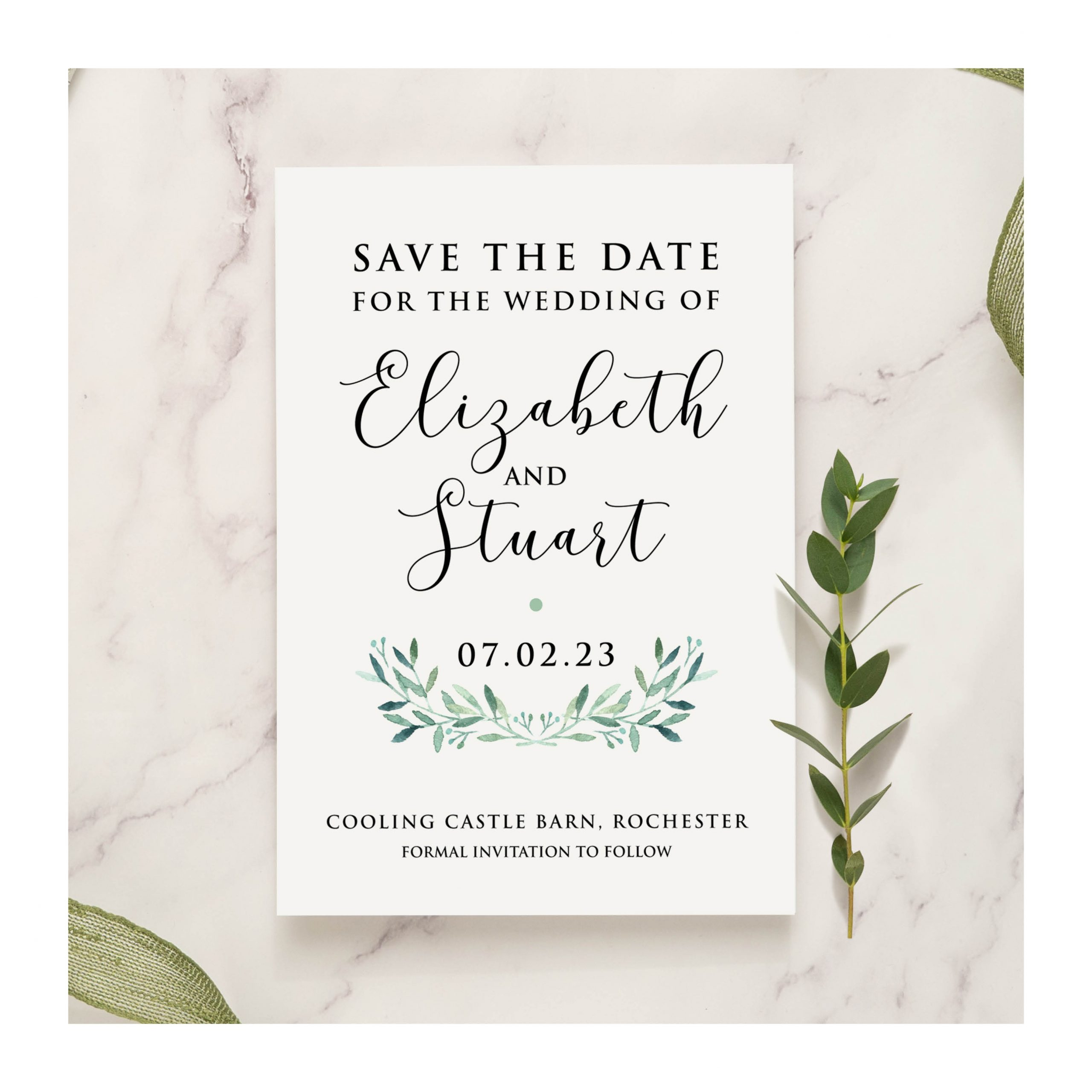 Olive wreath Save the date photo