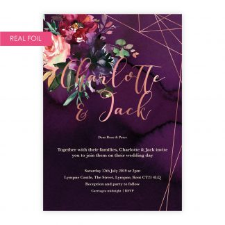 Painted Love invite rose gold foil
